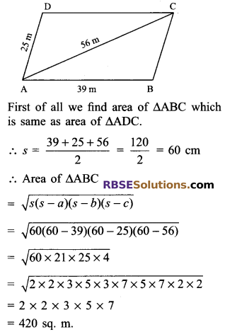 RBSE Solutions for Class 9 Maths Chapter 11 Area of Plane Figures Ex 11.2