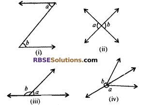 RBSE Solutions for Class 7 Maths Chapter 7 Lines and Angles Ex 7.1