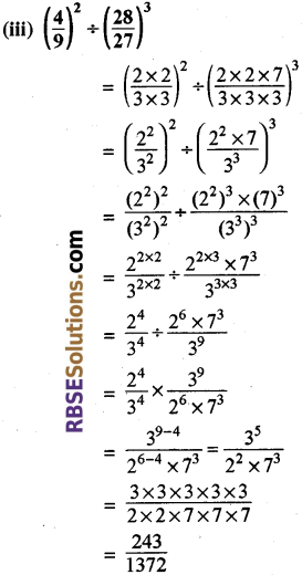 Rajasthan Board RBSE Class 8 Maths Chapter 3 Powers and Exponents Ex 3.1 22a