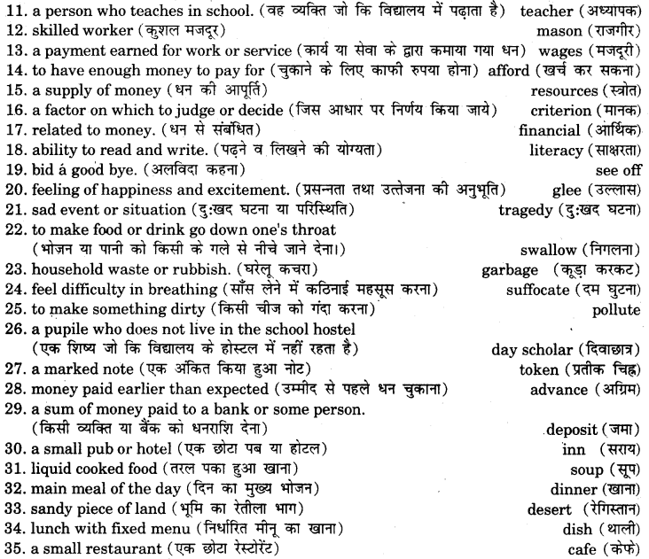 RBSE Class 7 English Vocabulary One Word Substitution 2