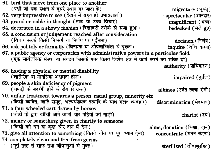 RBSE Class 7 English Vocabulary One Word Substitution 5