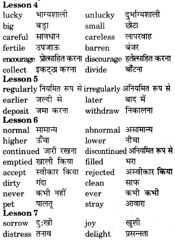 RBSE Class 7 English Vocabulary Opposites 5
