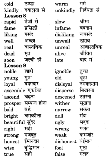 RBSE Class 7 English Vocabulary Opposites 6