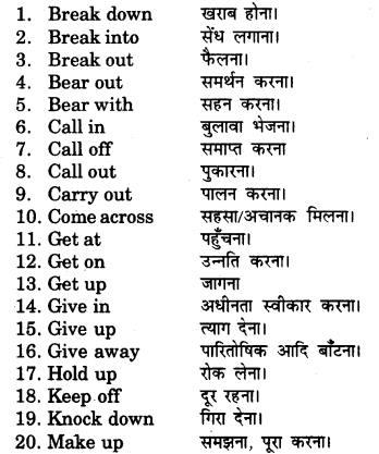 RBSE Class 7 English Vocabulary Phrasal Verbs 2