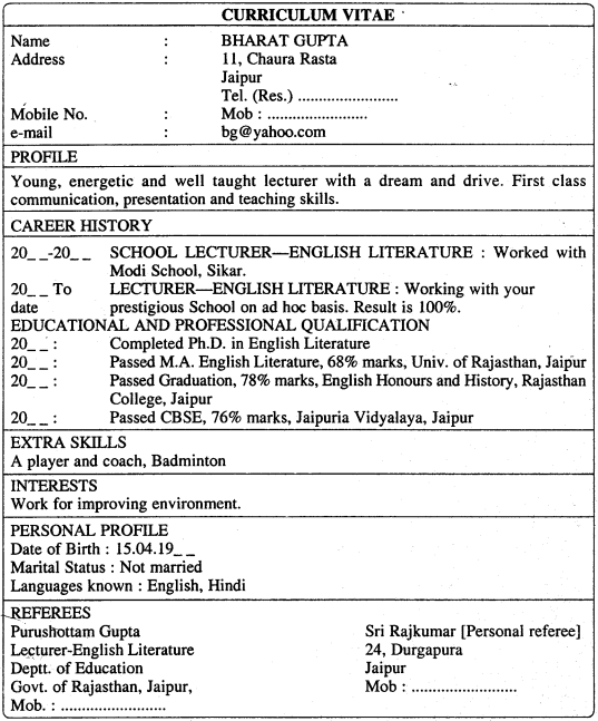 RBSE Class 11 English Letter Writing Application for a Job 2