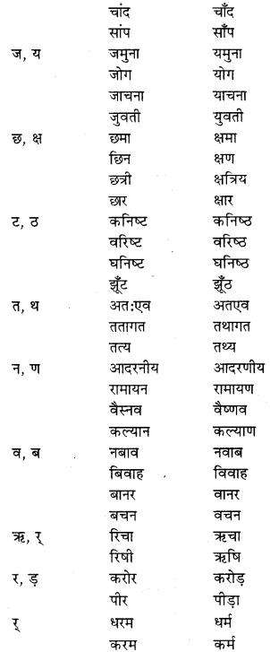 RBSE Class 9 Hindi व्याकरण शब्द-शुद्धि 2
