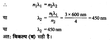 RBSE Solutions for Class 12 Physics Chapter 12 प्रकाश की प्रकृति multiple Q 5.1