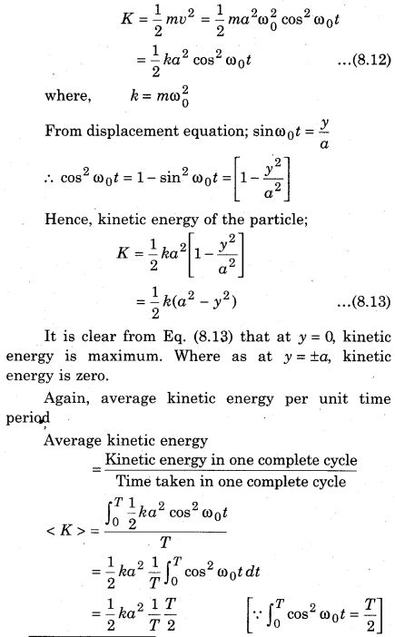 RBSE Solutions for Class 11 Physics Chapter 8 Oscillatory Motion