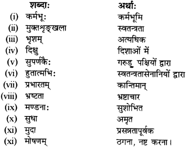 RBSE Solutions for Class 12 Sanskrit विजेत्र Chapter 12 मातृवन्दना-गीतिः 8