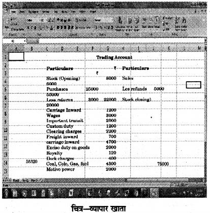 RBSE Solutions for Class 12 Accountancy Chapter 13 इलेक्ट्रॉनिक स्प्रेडशीट का लेखांकन में प्रयोग