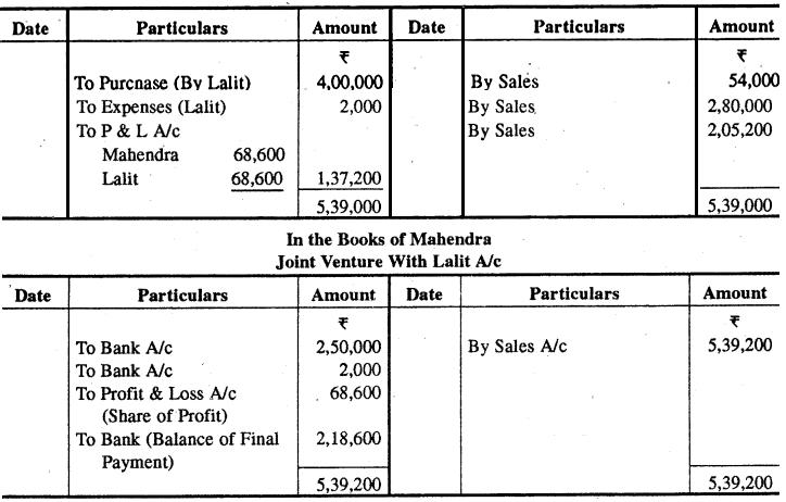 Rajasthan Board RBSE Class 12 Accountancy Chapter 7 संयुक्त साहस खाते