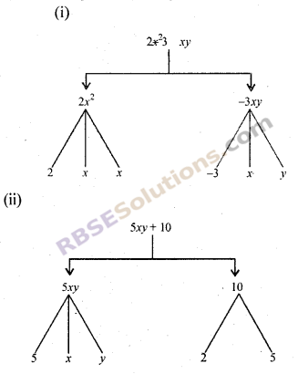 RBSE Solutions for Class 7 Maths Chapter 13 बीजीय व्यंजक Additional Questions