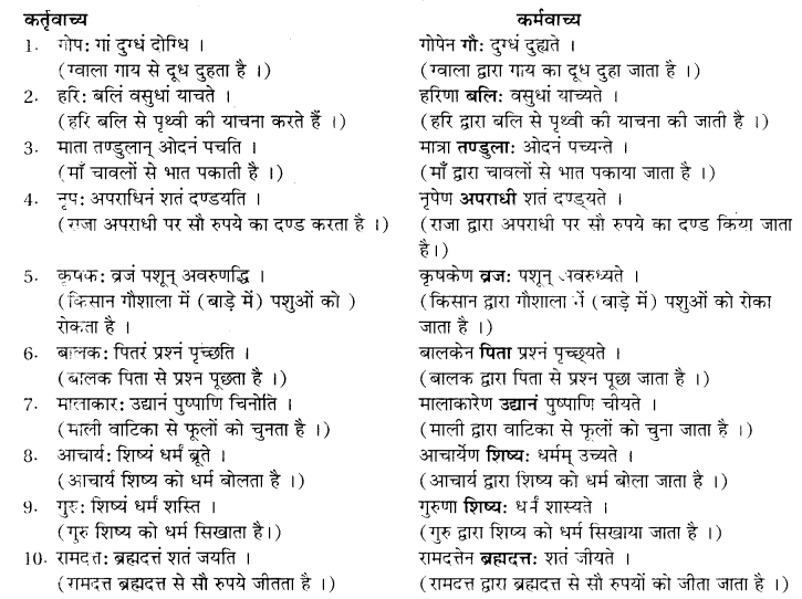 RBSE Class 10 Sanskrit व्याकरणम् वाच्य-परिवर्तनम् image 13