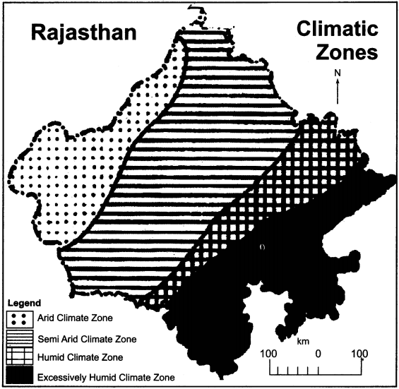 RBSE Solutions for Class 11 Indian Geography Chapter 13 Rajasthan Climate Vegetation and Soil img-1