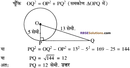 RBSE Solutions for Class 10 Maths Chapter 13 वृत्त एवं स्पर्श रेखा Additional Questions 23