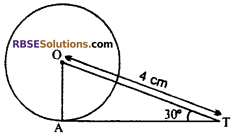 RBSE Solutions for Class 10 Maths Chapter 13 Circle and Tangent Additional Questions 4