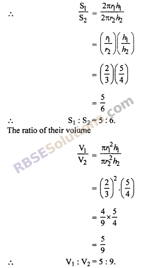 RBSE Solutions for Class 10 Maths Chapter 16 Surface Area and Volume Ex 16.2 1