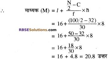RBSE Solutions for Class 10 Maths Chapter 17 केन्द्रीय प्रवृत्ति के माप Additional Questions 21