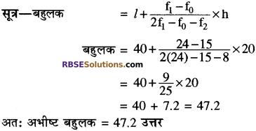 RBSE Solutions for Class 10 Maths Chapter 17 केन्द्रीय प्रवृत्ति के माप Additional Questions 3