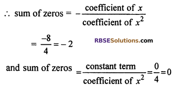 RBSE Solutions for Class 10 Maths Chapter 3 PolynomialsEx 3.1 Q1