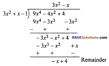 RBSE Solutions for Class 10 Maths Chapter 3 PolynomialsEx 3.2 Q1.3