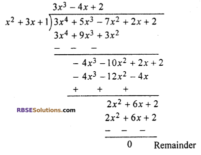 RBSE Solutions for Class 10 Maths Chapter 3 PolynomialsEx 3.2 Q2