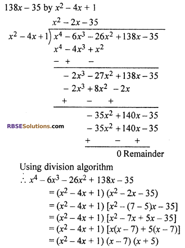 RBSE Solutions for Class 10 Maths Chapter 3 PolynomialsEx 3.2 Q3.2