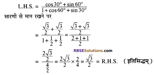 RBSE Solutions for Class 10 Maths Chapter 6 त्रिकोणमितीय अनुपात Additional Questions 19
