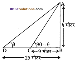 RBSE Solutions for Class 10 Maths Chapter 8 ऊँचाई और दूरी Additional Questions 22