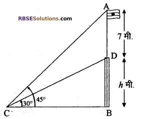 RBSE Solutions for Class 10 Maths Chapter 8 ऊँचाई और दूरी Additional Questions 29