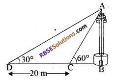 RBSE Solutions for Class 10 Maths Chapter 8 ऊँचाई और दूरी Additional Questions 55