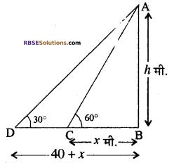 RBSE Solutions for Class 10 Maths Chapter 8 ऊँचाई और दूरी Ex 8 10