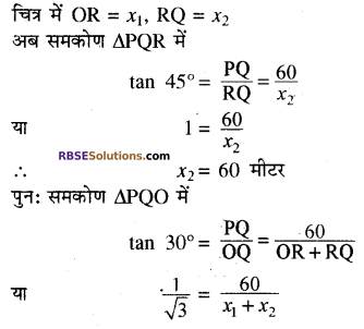 RBSE Solutions for Class 10 Maths Chapter 8 ऊँचाई और दूरी Ex 8 14