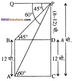 RBSE Solutions for Class 10 Maths Chapter 8 ऊँचाई और दूरी Ex 8 34
