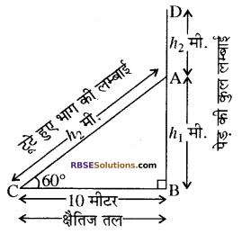 RBSE Solutions for Class 10 Maths Chapter 8 ऊँचाई और दूरी Ex 8 4
