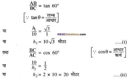 RBSE Solutions for Class 10 Maths Chapter 8 ऊँचाई और दूरी Ex 8 5