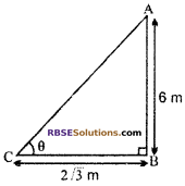 RBSE Solutions for Class 10 Maths Chapter 8 Height and Distance Additional Questions 1