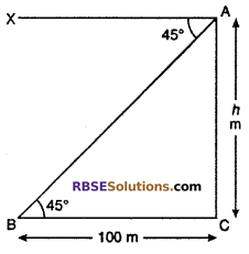 RBSE Solutions for Class 10 Maths Chapter 8 Height and Distance Additional Questions 12