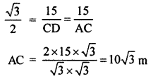 RBSE Solutions for Class 10 Maths Chapter 8 Height and Distance Additional Questions 15