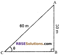 RBSE Solutions for Class 10 Maths Chapter 8 Height and Distance Additional Questions 2