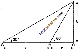 RBSE Solutions for Class 10 Maths Chapter 8 Height and Distance Additional Questions 20