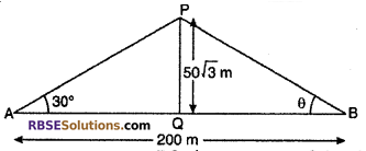 RBSE Solutions for Class 10 Maths Chapter 8 Height and Distance Additional Questions 21