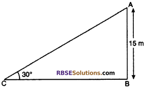 RBSE Solutions for Class 10 Maths Chapter 8 Height and Distance Additional Questions 24