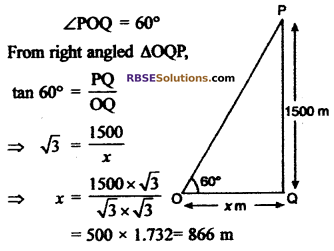 RBSE Solutions for Class 10 Maths Chapter 8 Height and Distance Additional Questions 33