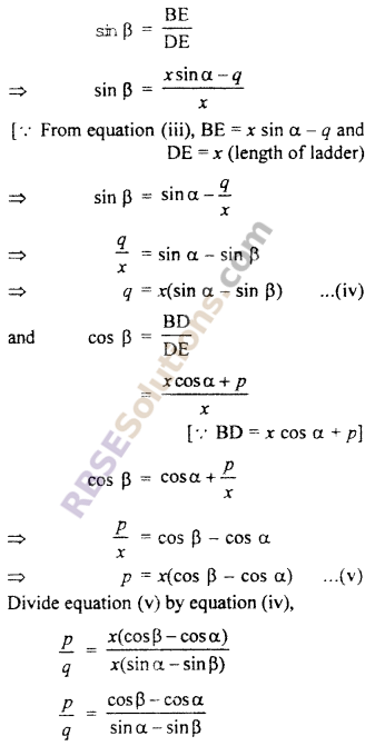 RBSE Solutions for Class 10 Maths Chapter 8 Height and Distance Additional Questions 39