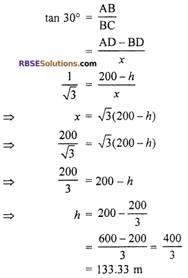 RBSE Solutions for Class 10 Maths Chapter 8 Height and Distance Additional Questions 49