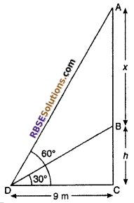 RBSE Solutions for Class 10 Maths Chapter 8 Height and Distance Additional Questions 52
