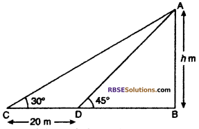 RBSE Solutions for Class 10 Maths Chapter 8 Height and Distance Additional Questions 56
