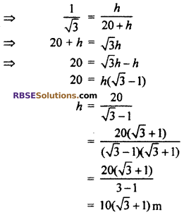 RBSE Solutions for Class 10 Maths Chapter 8 Height and Distance Additional Questions 57