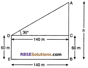 RBSE Solutions for Class 10 Maths Chapter 8 Height and Distance Additional Questions 60